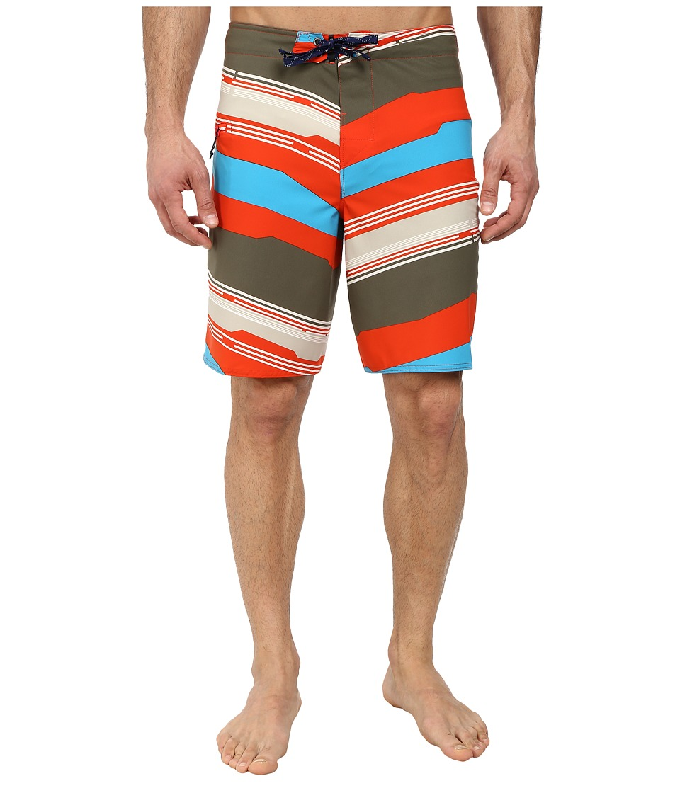 Patagonia - Stretch Planing Boardshort (Mid Century Stripe: Turkish Red) Men's Shorts