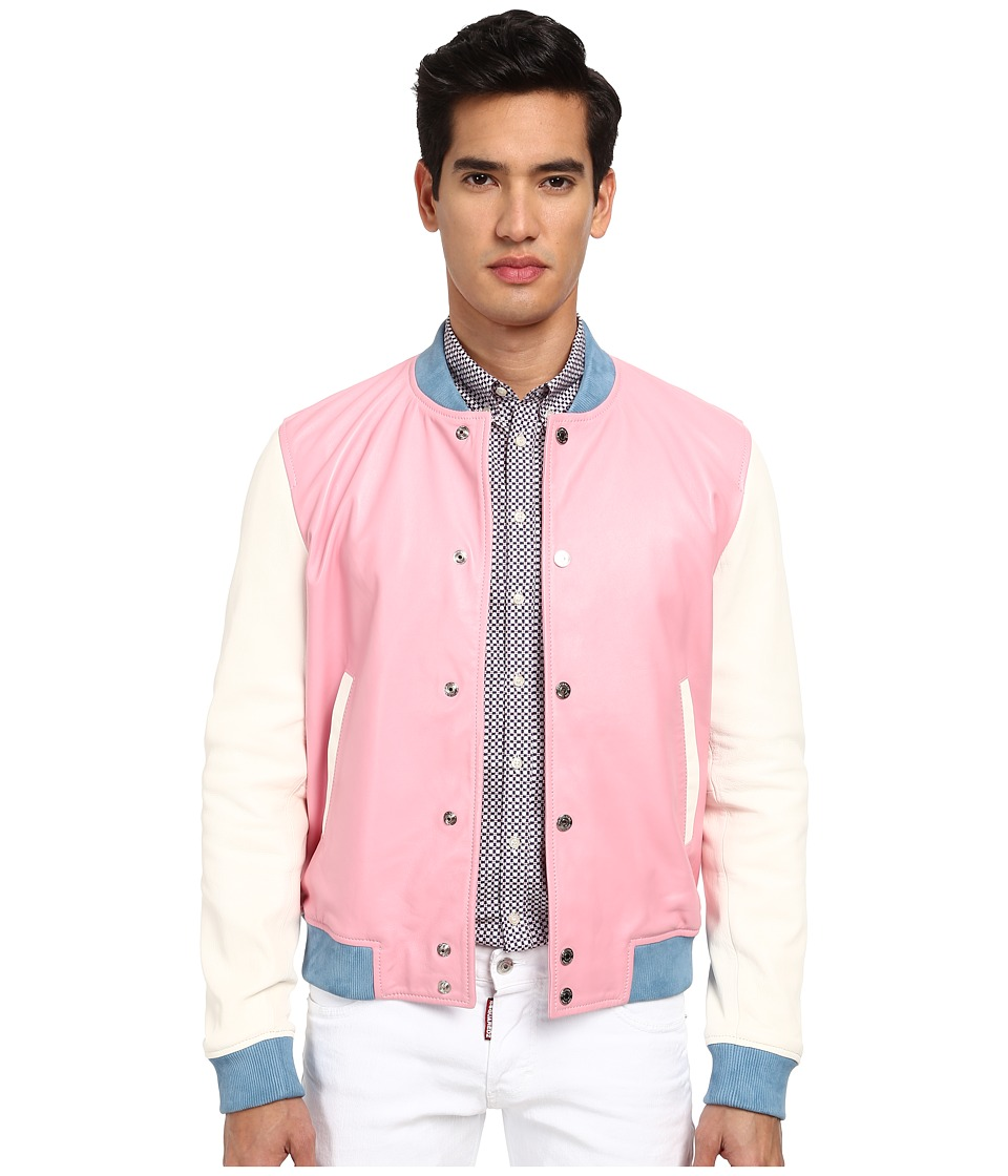 DSQUARED2 - Leather Bomber (Pink) Men's Coat