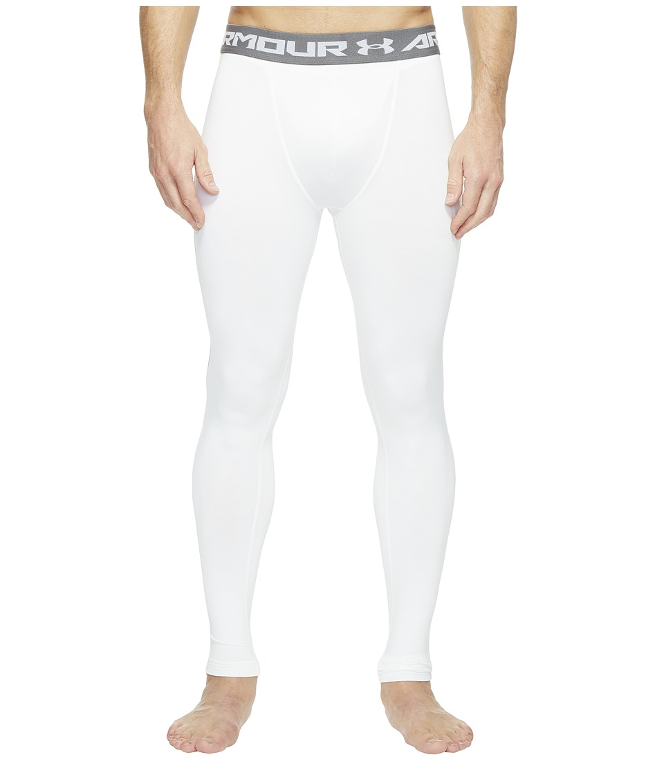 Under Armour - Armour(r) Heatgear(r) Compression Legging (White/Graphite) Men's Workout