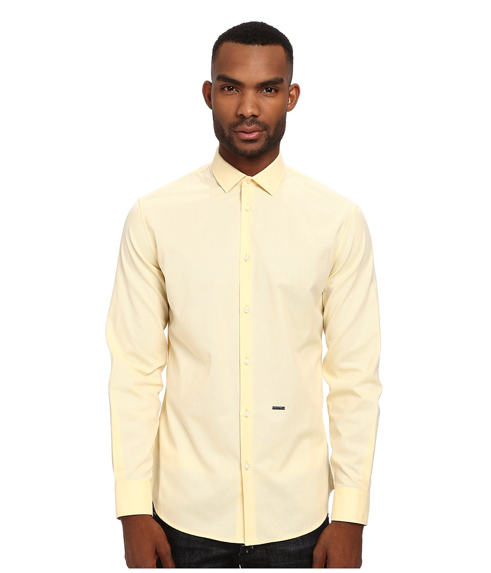 DSQUARED2 - Fil a Fil M. B. Button Up (Yellow) Men's Long Sleeve Button Up