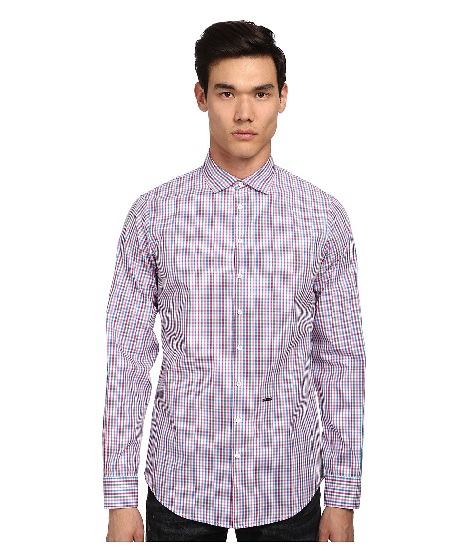 DSQUARED2 - Check Cotton Button Up (White/Pink/Blue) Men's Long Sleeve Button Up