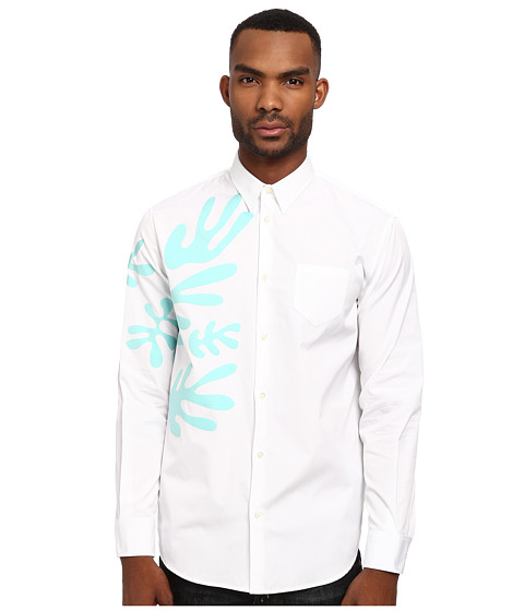 DSQUARED2 - Underwater Button Up (White/Aquamarine) Men's Long Sleeve Button Up