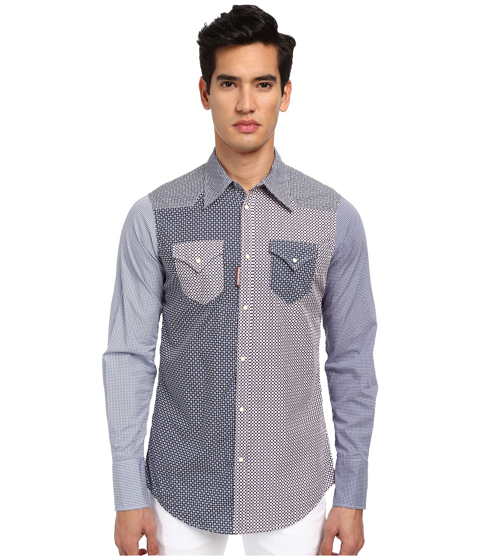 DSQUARED2 - Check Western Button Up (White/Blue) Men's Long Sleeve Button Up
