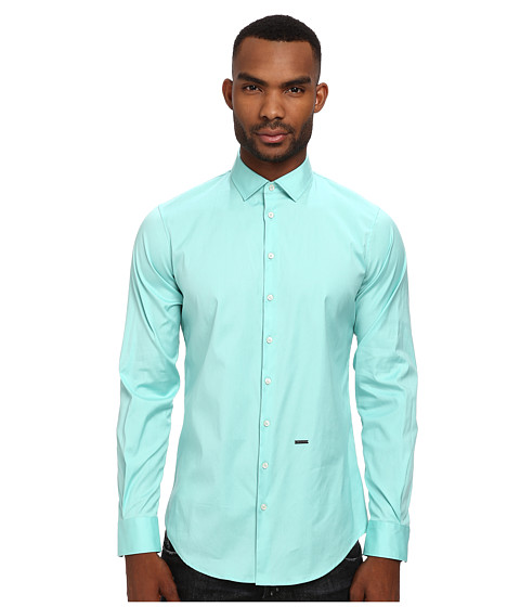 DSQUARED2 - Stretch Poplin Button Up (Light Green) Men