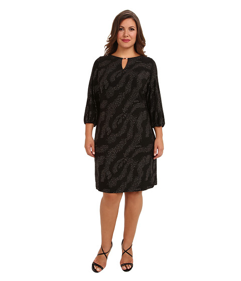 Tahari by ASL Plus - Plus Size Wilson Dress (Black/Gold) Women