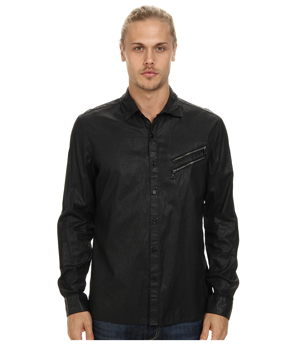 John Varvatos Collection - Slim Fit Shirt w/ Double Zip Chest Pockets and Zip Sleeve Cuffs (Black) Men's Long Sleeve Button Up