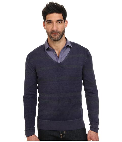 John Varvatos Collection - Artisan Reverse Print Long Sleeve Striped V-Neck Sweater Y1598Q4 (Purple Haze) Men's Sweater
