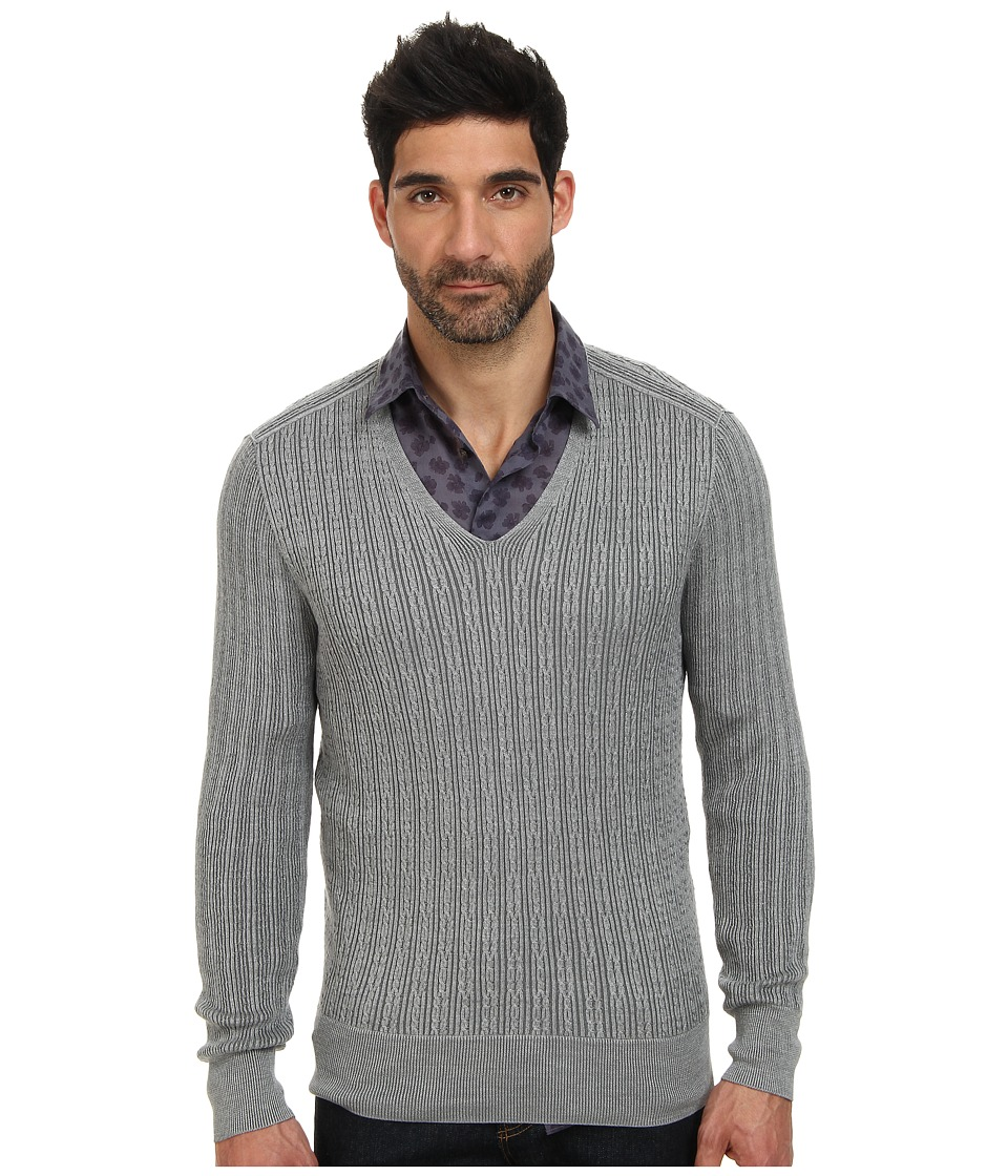 John Varvatos Collection - Plaited Long Sleeve V-Neck Cable Sweater Y1558Q4 (Light Grey Heather) Men