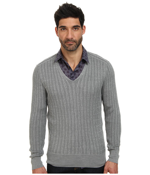 John Varvatos Collection - Plaited Long Sleeve V-Neck Cable Sweater Y1558Q4 (Light Grey Heather) Men's Sweater