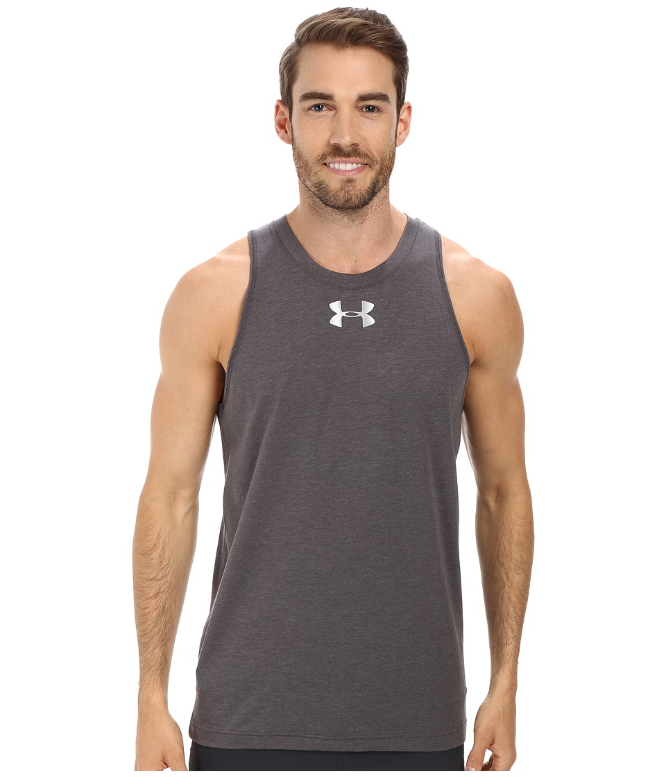 Under Armour - Charged Cotton(r) Jus Sayin Too Tank (Carbon Heather/Elemental/Element) Men's Sleeveless