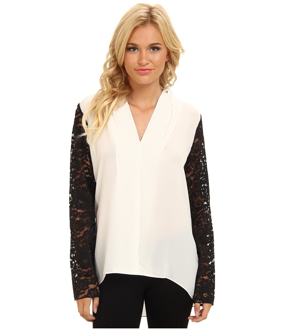 Brigitte Bailey - 100% Silk ColorblockTunic (White/Black) Women