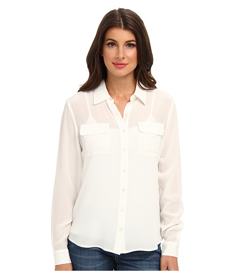 Christin Michaels - 100% Silk Button Down Blouse (White) Women's Blouse