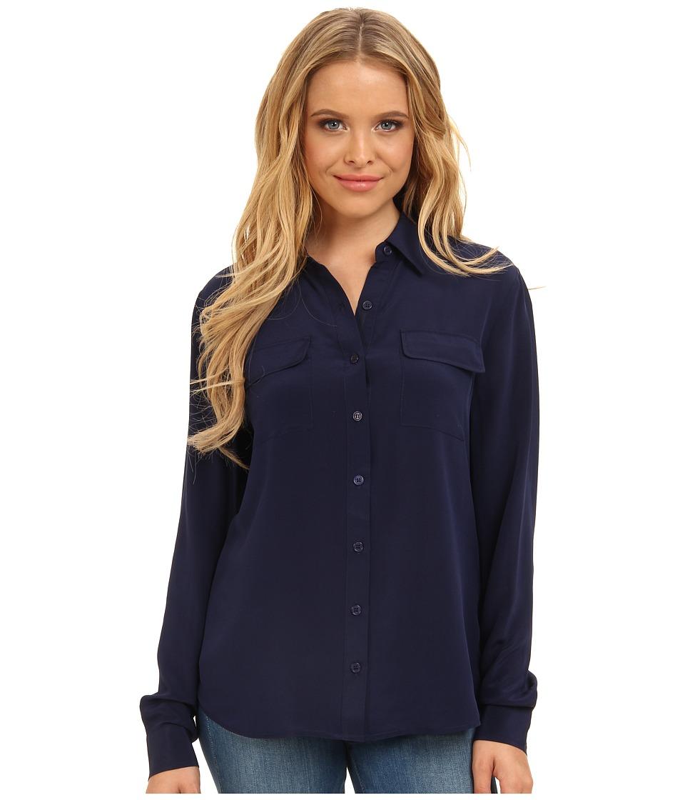 Christin Michaels - 100% Silk Button Down Blouse (Twilight) Women