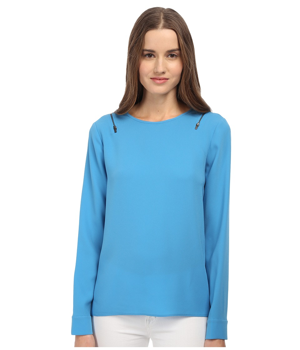 tibi - Long Sleeve Top (Captain's Blue) Women's Long Sleeve Pullover