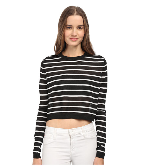 tibi - Cropped Pullover (Black Multi) Women's Long Sleeve Pullover