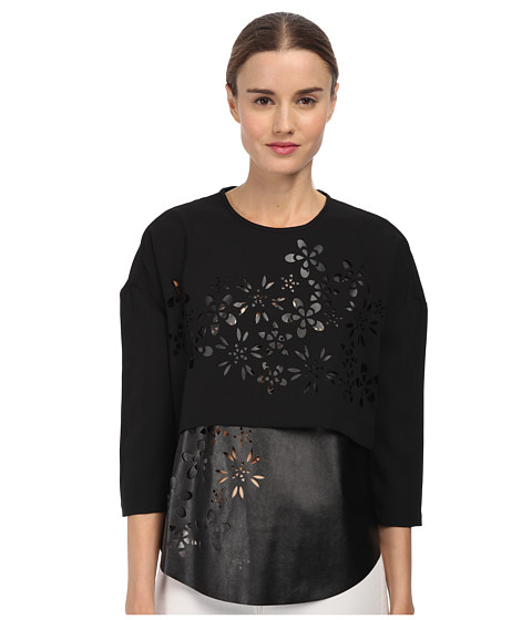 tibi - Layered Top (Black) Women's Long Sleeve Pullover