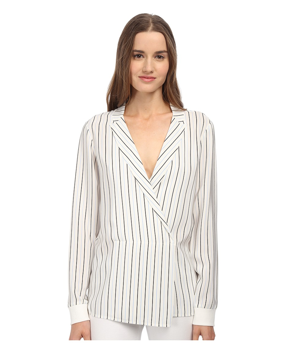 tibi - Long Sleeve Wrap Blouse (White Multi) Women's Blouse