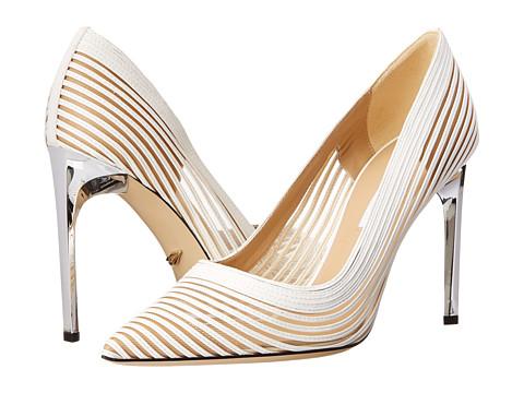 Diane von Furstenberg - Bridgette (White Nappa/Nude Mesh) High Heels