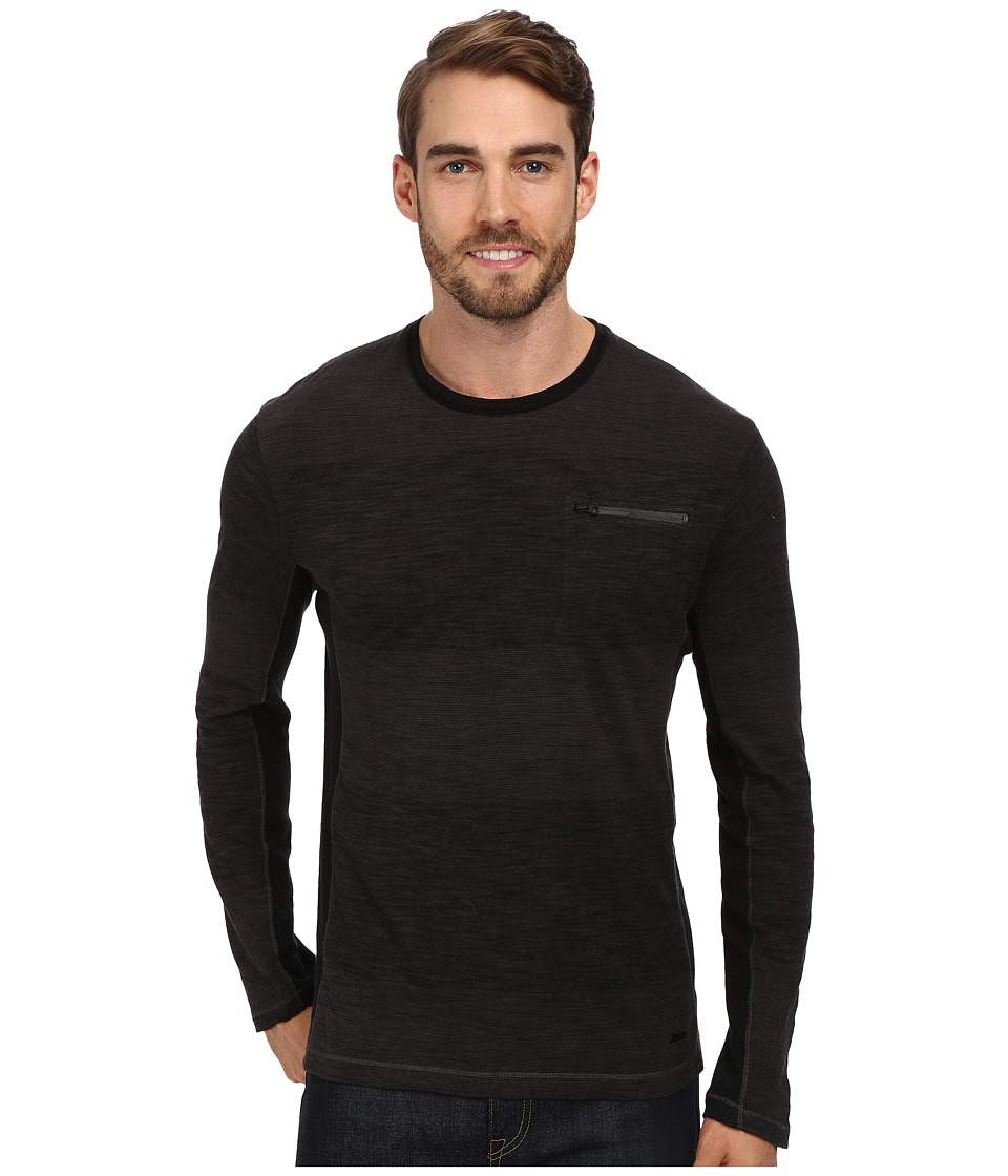 Calvin Klein Jeans - L/S Jersey Stripe w/ Rib Panels (Black 050000) Men's Long Sleeve Pullover