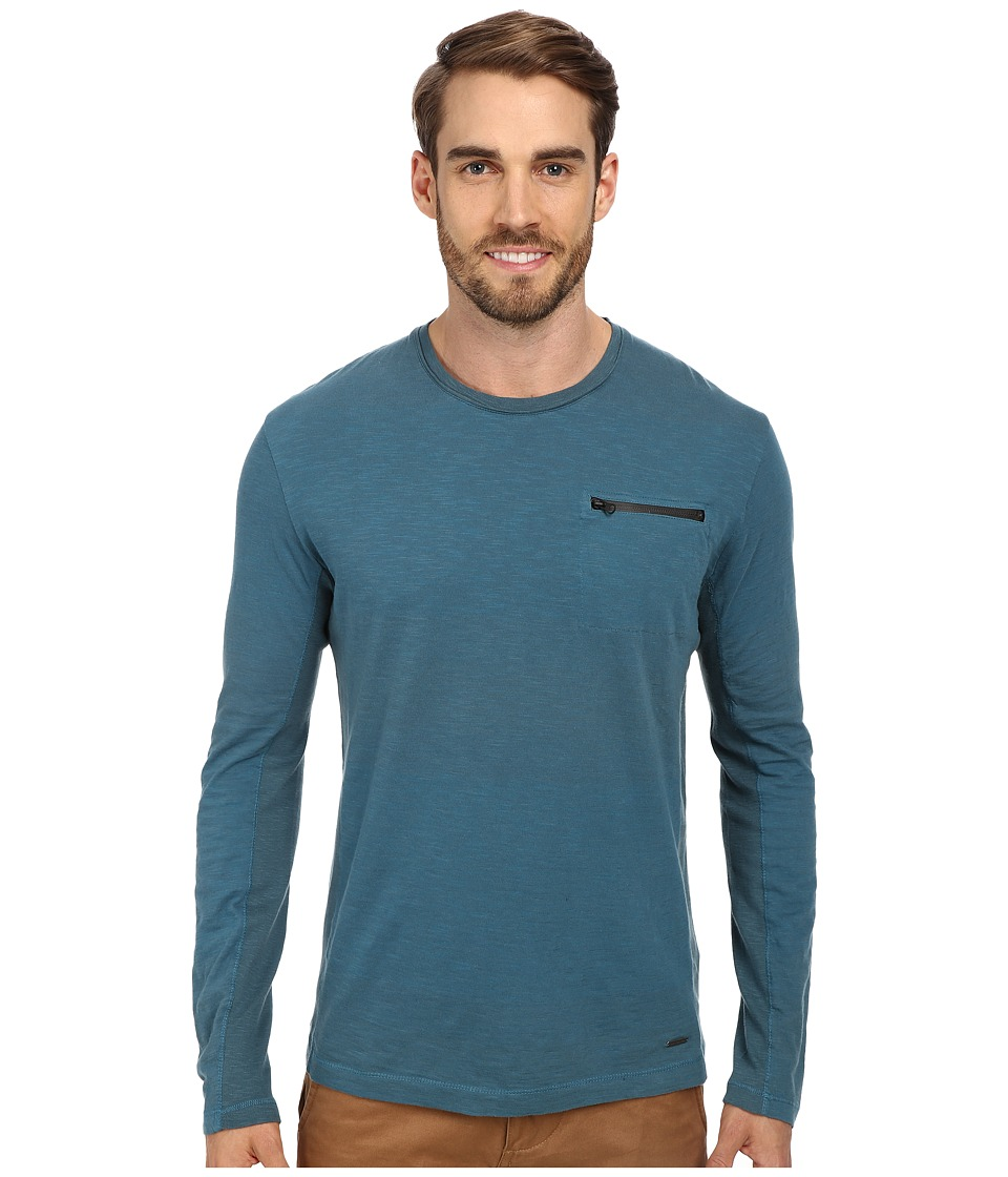 Calvin Klein Jeans - L/S Jersey Stripe w/ Rib Panels (Corsair) Men's Long Sleeve Pullover