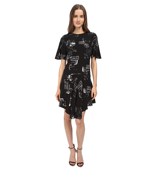 tibi - Draped Dress (Black Multi) Women's Dress