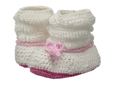Jefferies Socks - Slouch Boot Bootie (Infant) (White/Pink) Girls Shoes