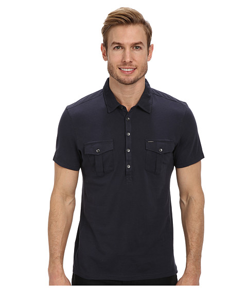 Calvin Klein Jeans - S/S Two-Pocket Polo Pigment Dye (Medieval Blue) Men's Short Sleeve Pullover