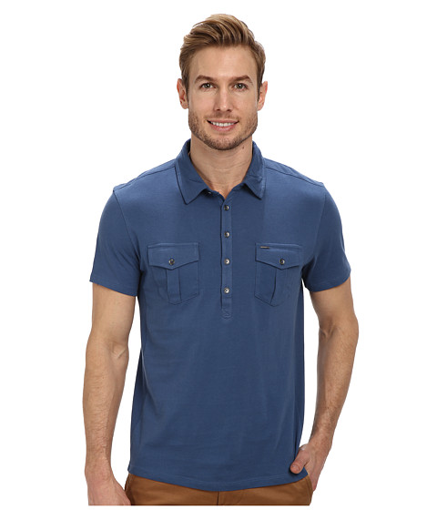 Calvin Klein Jeans - S/S Two-Pocket Polo Pigment Dye (Watershed) Men