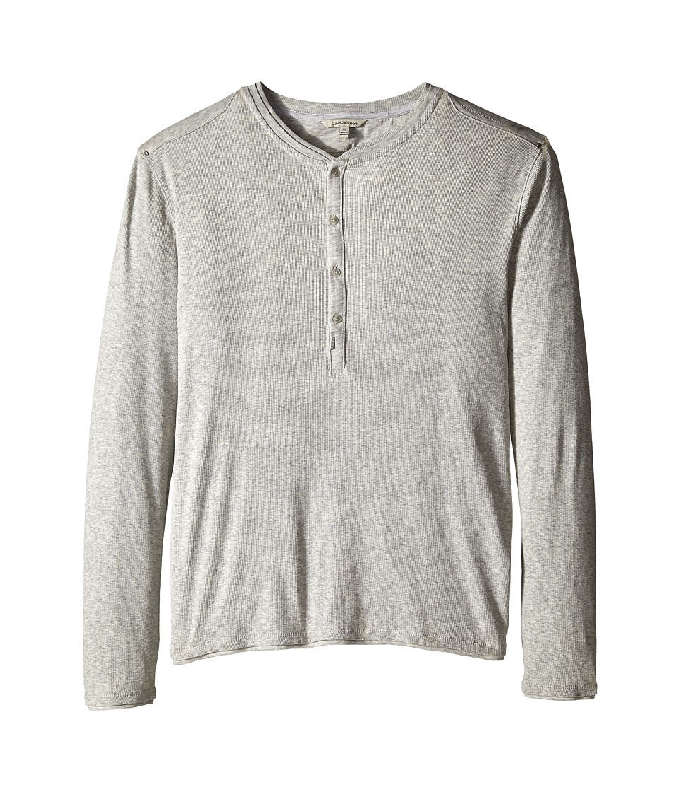 Calvin Klein Jeans - L/S Rib Henley Mixed Media (Fossil Heather) Men