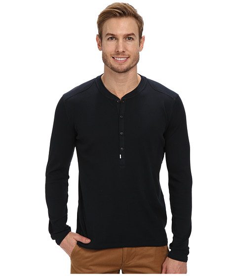 Calvin Klein Jeans - L/S Rib Henley Mixed Media (Carbon) Men's Long Sleeve Pullover