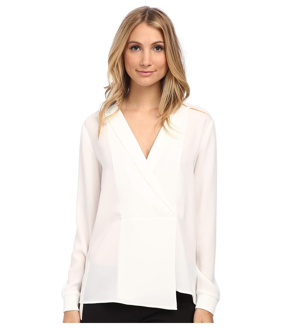 tibi - Long Sleeve Wrap Blouse (White) Women's Blouse