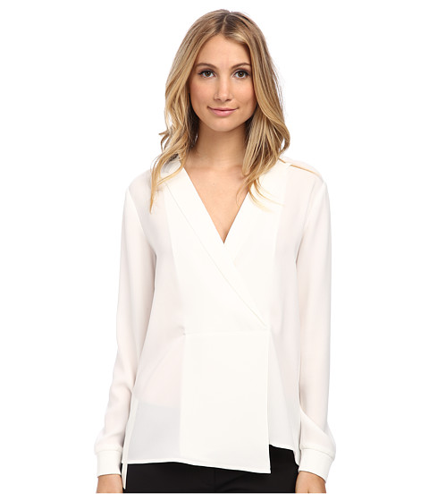 tibi - Long Sleeve Wrap Blouse (White) Women