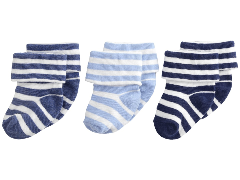 Jefferies Socks - Turn Cuff 3 Pack (Infant/Toddler) (Blue) Boys Shoes