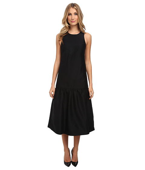 tibi - Sleeveless Open Back Long Dress (Black) Women's Dress