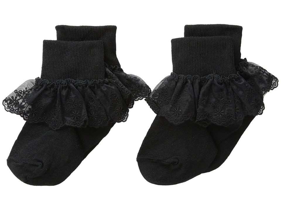 Jefferies Socks - Snow Queen Lace 2 Pack (Infant/Toddler/Little Kid/Big Kid) (Black) Girls Shoes