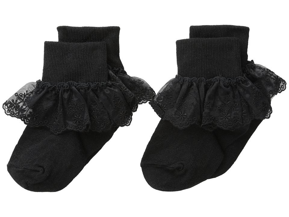 Jefferies Socks - Snow Queen Lace 2 Pack (Infant/Toddler/Little Kid/Big Kid) (Black) Girls Shoes