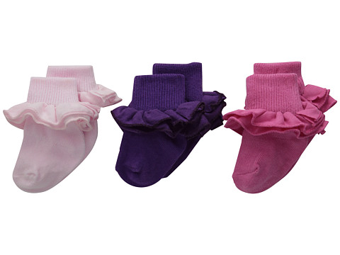 Jefferies Socks - Misty Ruffle Turn Cuff 3 Pack (Infant/Toddler/Little Kid/Big Kid) (Asst B (1) Pastel Pink (1) Bubblegum (1) Grape) Girls Shoes