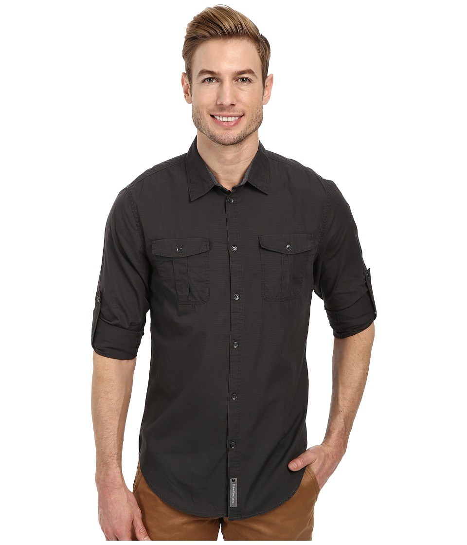 Calvin Klein Jeans - Rip Stop Shirt (Zinc) Men's Long Sleeve Button Up