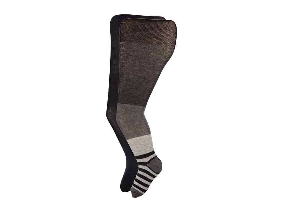 Jefferies Socks - Wide Stripe/Solid Tights Pack (Toddler/Little Kid/Big Kid) (Asst A (1) Grey Heather 1563 (1) Black 1500) Hose
