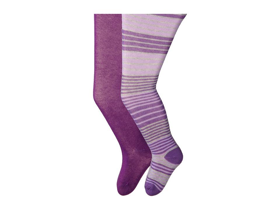 Jefferies Socks - Stripe/Solid Tights 2 Pack (Infant/Toddler/Youth) (Asst B (1) Purple 1564 (1) Purple 1500) Hose