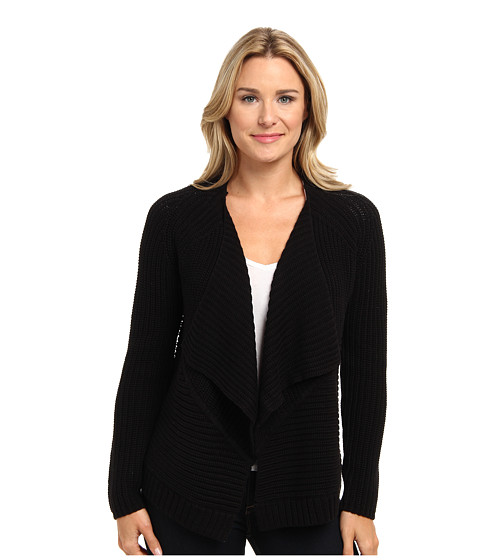 525 america - Envelope Open Cardigan (Black) Women's Sweater