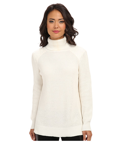 525 america - Quilted Shoulder Tneck (White Cap) Women's Clothing