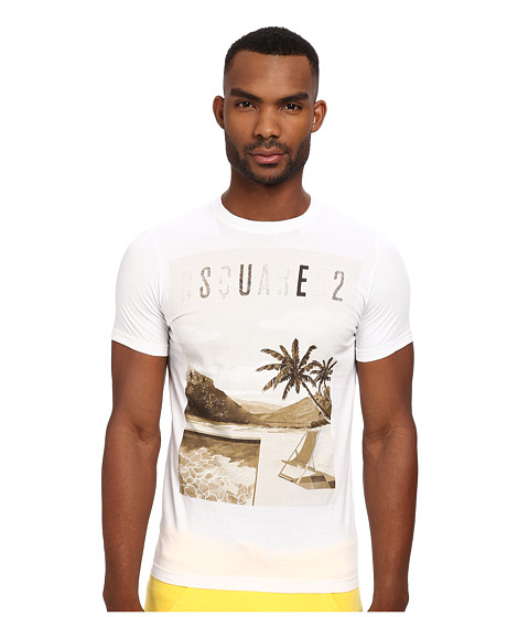 DSQUARED2 - Poolside Sexy Slim Fit Tee (White) Men