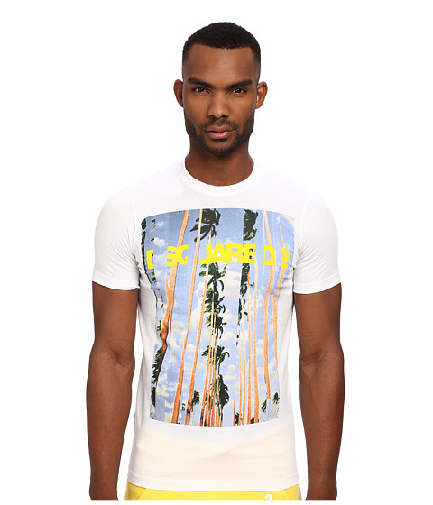 DSQUARED2 - Palms New Sexy Slim Fit Tee (White) Men's T Shirt
