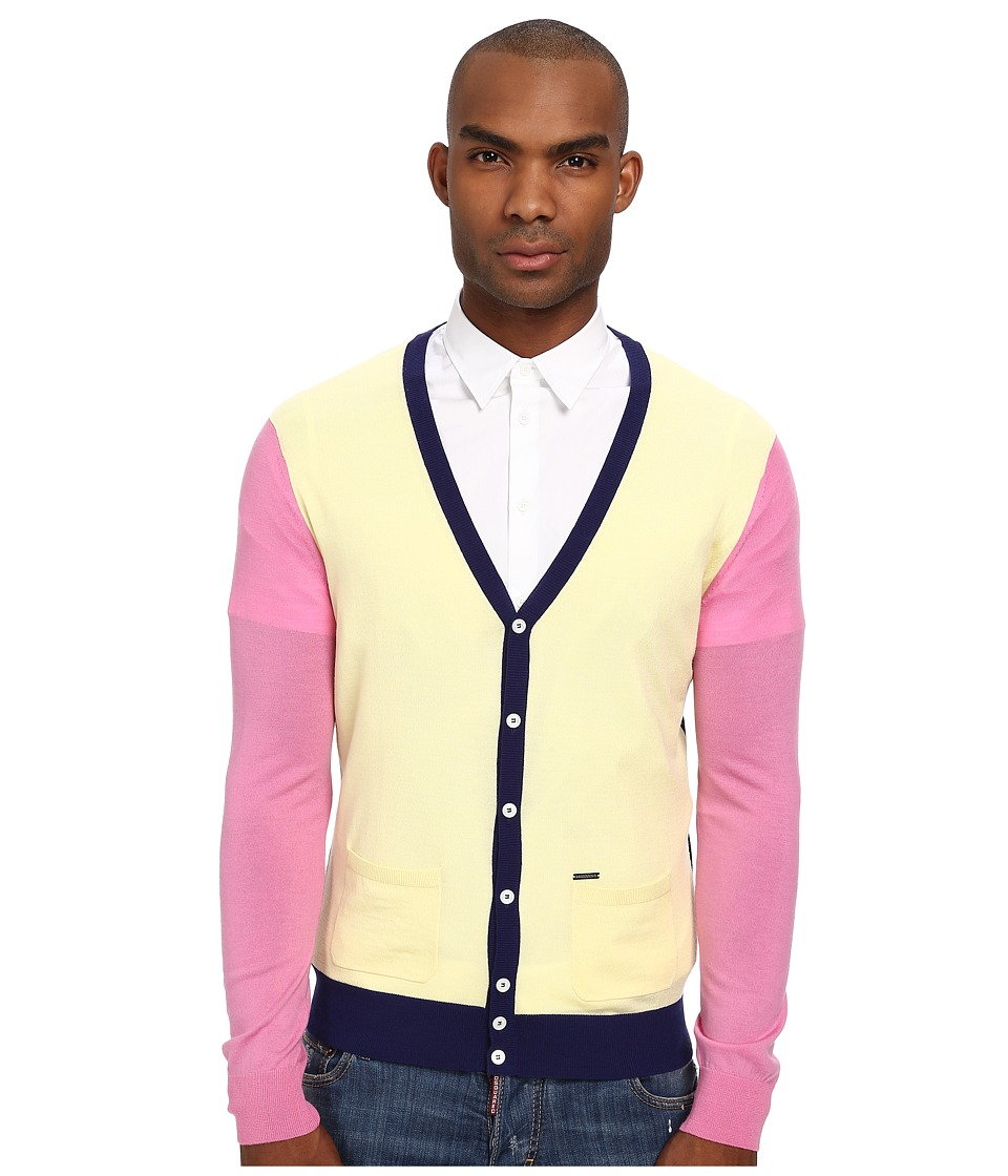 DSQUARED2 - Color Block Cardigan (Yellow/Pink/Blue) Men
