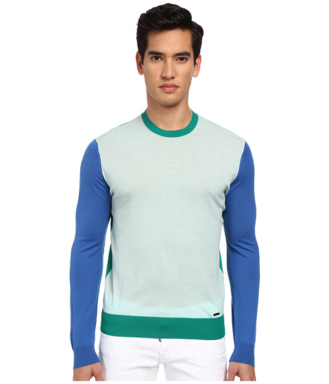 DSQUARED2 - Color Block Crewneck Sweater (Ice/Bluette/Green) Men's Sweater