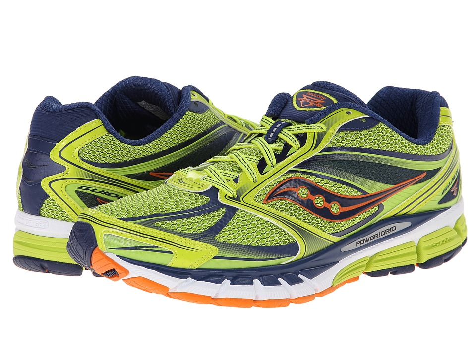Saucony - Guide 8 (Lime/Navy/Orange) Men's Running Shoes