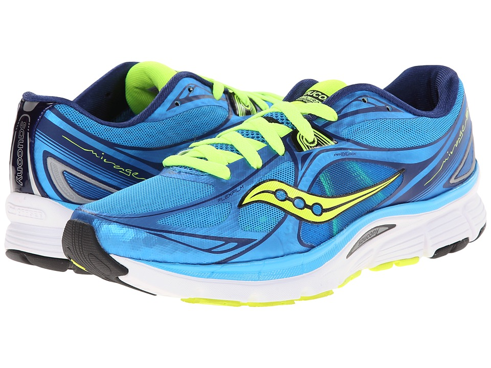Saucony - Mirage 5 (Blue/Citron) Women's Running Shoes