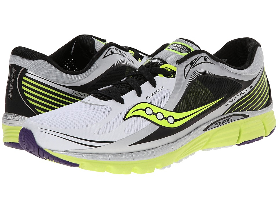 Saucony - Kinvara 5 (White/Black/Citron) Men's Running Shoes