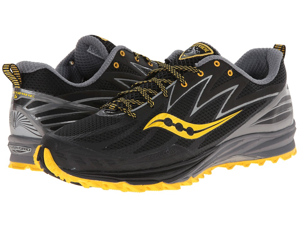 Saucony - Peregrine 5 (Black/Yellow) Men's Running Shoes